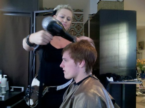 Jen and Josh getting their hair done