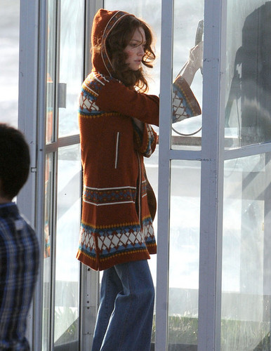 "Amanda Seyfried Using A Pay Phone On The Set Of ""Lovelace"""