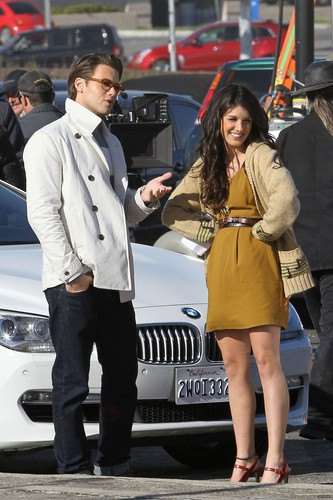 Shenae Grimes and Nick Zano on set of 90210