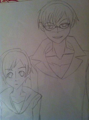 no color.. but its haruhi and kyouya -.^