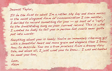 Adam's letter to Taylor nhanh, swift