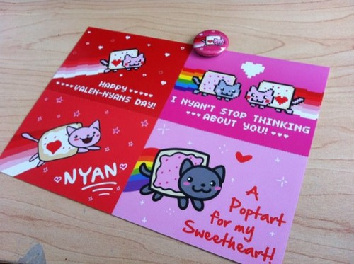 Nyan Cat Valentines hari cards
