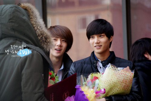 Se Hun & KAI at The School Of Performing Arts Seoul graduation ceremony