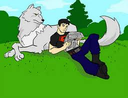 Superboy and wolf