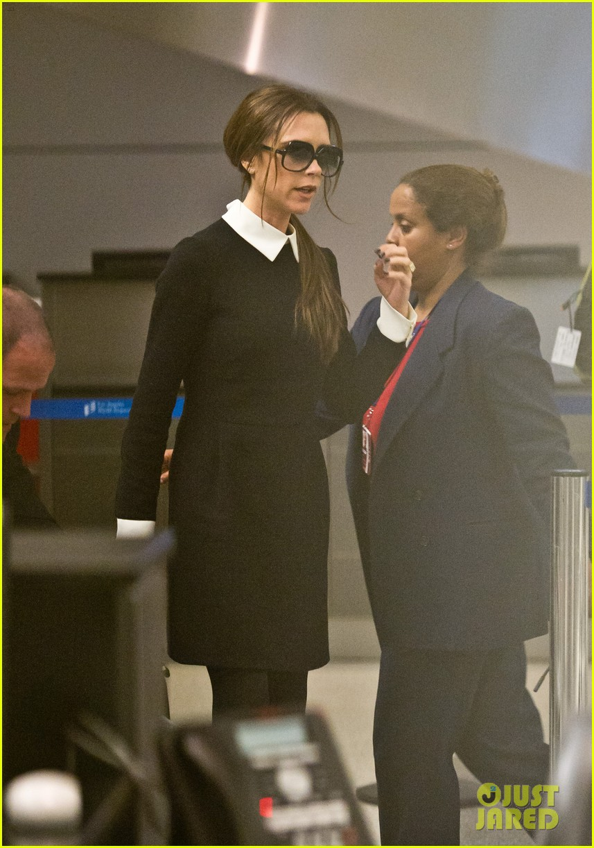 Victoria Beckham Lands at LAX & Beckham Boys Attend Hall of Game Awards