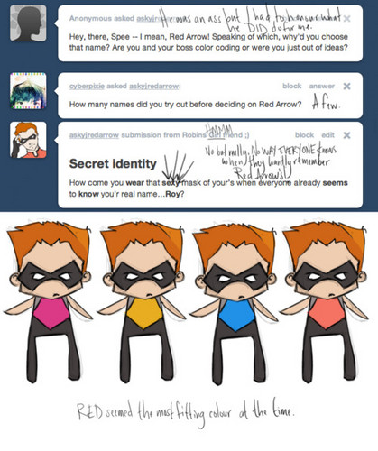 Look at the 3rd box called Secret Identity...I asked that XD