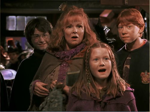 Mrs Weasley, Ginny, Ron and Harry