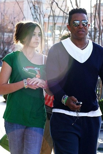 Paris Jackson and Jermaine Jackson at the Commons in Calabasas