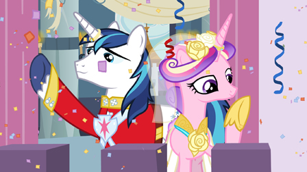 -SPOILER- Shining Armor and Cadence waving to the crowd