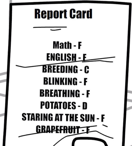 Train guy's report card