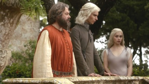 Daenerys and Viserys with Illyrio Mopatis