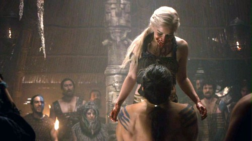 Drogo and Daenerys with Dothraki