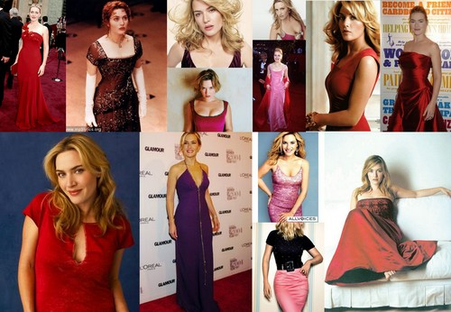 KAte Winslet in red,pink,purple