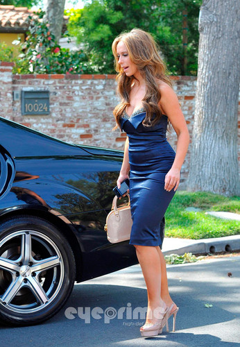 Wearing a Sexy Blue Dress Outside Her Home In Toluca Lake [ 9 April 2012]