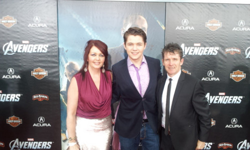damianmcginty and his parents Joanne and Damian Sr on the @avengers red carpet-2012