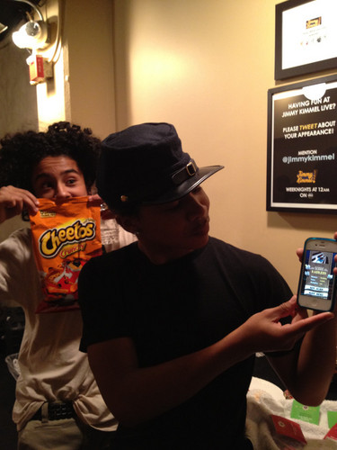 Cheetos!!! My fav. Hot one's are better though!!! Chillin in the dressing room