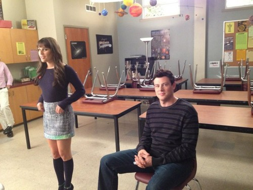 Lea last giorno on set of Glee for season 3
