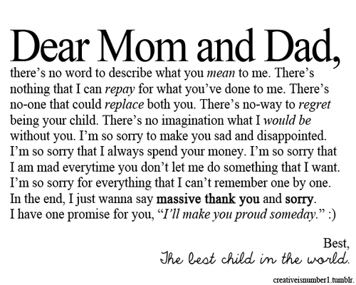 Dear mom and dad :)