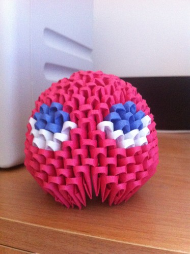 3D Origami Pacman Ghost -Blinky