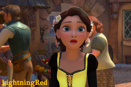 Brown-haired, Blue-eyed, Black and Yellow-dressed Rapunzel