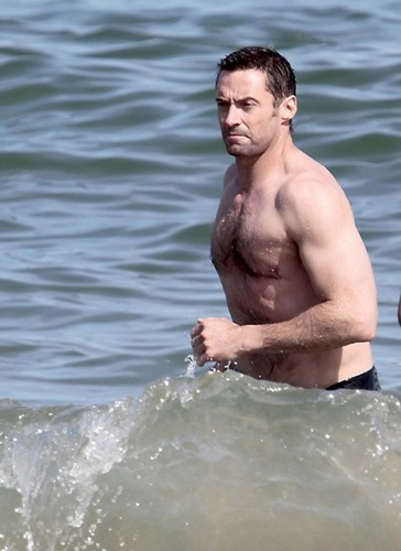 Hugh Jackman in the Beach