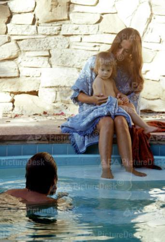 Nat and baby Natasha as RJ's in the pool