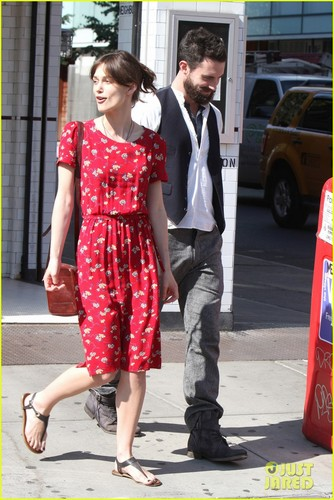 Keira and Adam on the set of Can A Song Save Your Life?