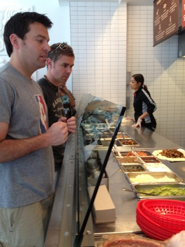 Ryan and Neil eating at Chipotle for the first time