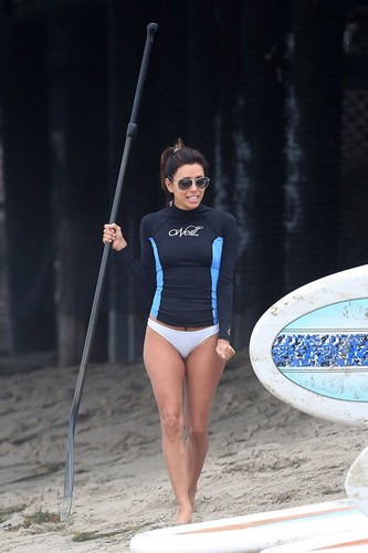 Eva Longoria paddle boarding in Malibu