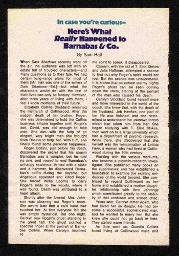 """Here's What Really Happened to Barnabas & Company"", sejak Sam Hall, TV Guide, 1971, (Page 1)"