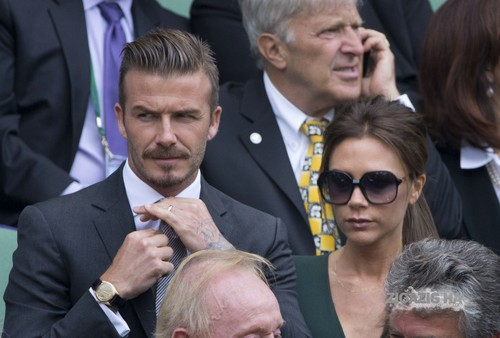 David and Victoria in the Royal Box on Centre Court during the Wimbledon Championships final