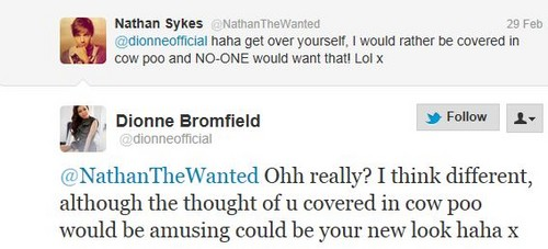 Nathan Sykes And Dionne Bromfield Tweet
