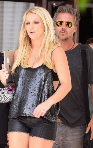 Heads to X-Factor Bootcamp In Black Leather Cut Offs In Miami [July 2012]