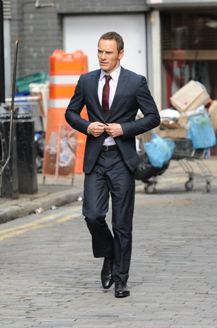Michael Fassbender on the set of The Counselor in Londra August 2012