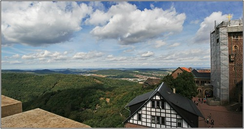 view from wartburg ngome over eisenach