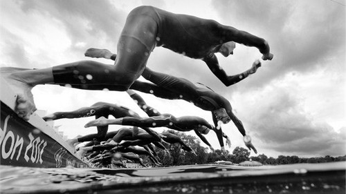 Black and white photographs at the Olympic Games