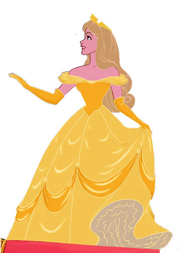 Aurora in Belle's dress