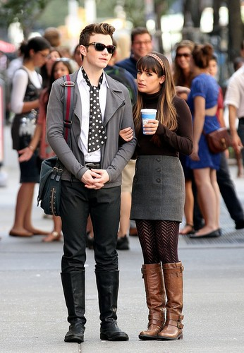 Chris Colfer & Lea Michele On Set in New York