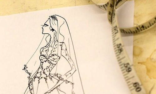 Sarah Burton's sketch of Duchess Catherine's dress