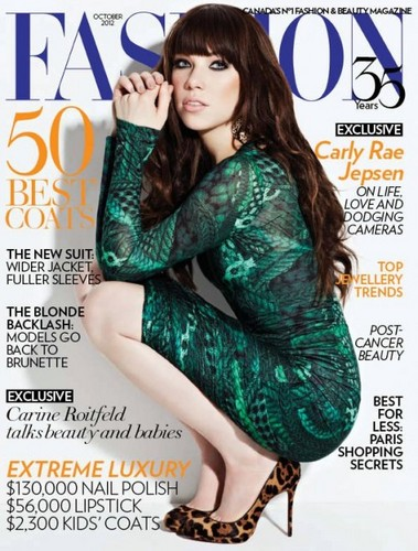 Carly Rae Jepsen, Fashion Magazine , September issue, Canada