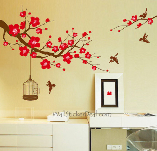 Plum Tree Flower With Birds and Birdcage Wall Stickers