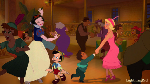 Snow White and Pinocchio dancing in Tiana's Palace
