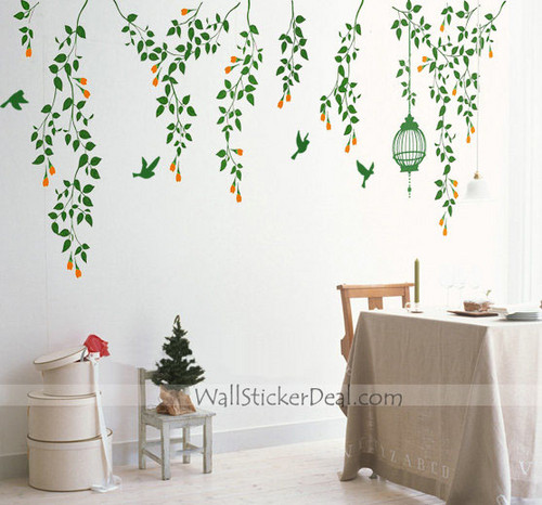 Summer Vine Flower With Birds and Birdcage Wall Stickers