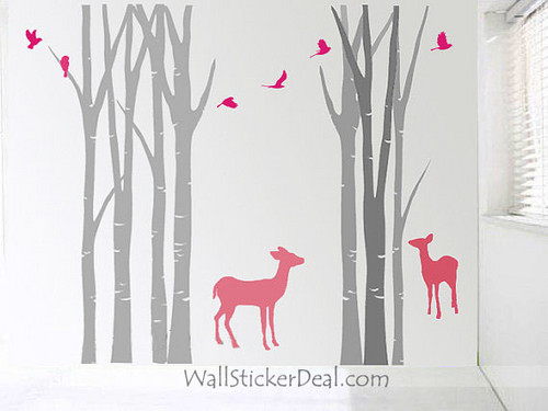 Birch cây Forest With Deer and Birds tường Stickers