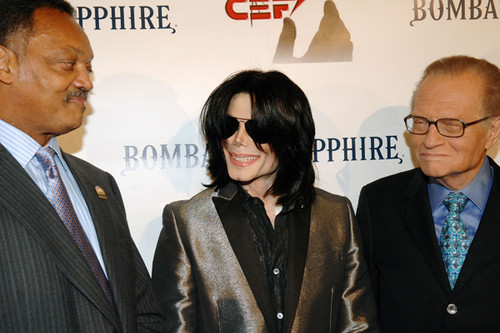 Michael With Jesse Jackson And Телевидение Journalist, Larry King